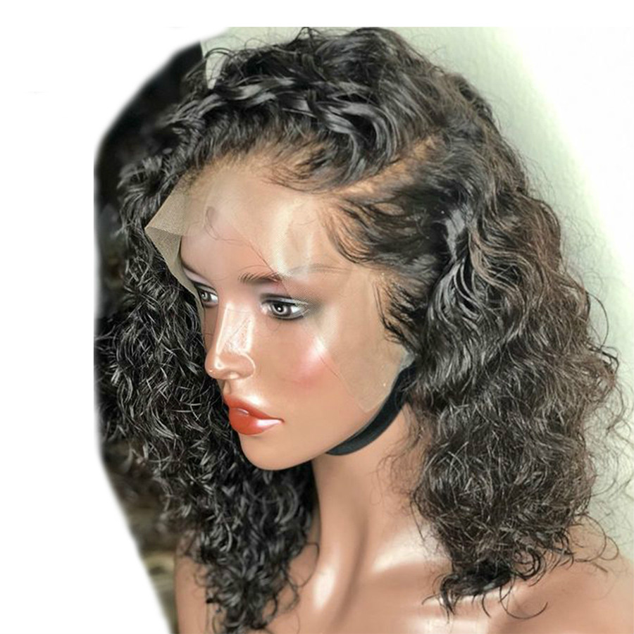 Brazilian Lace Front Human Hair Wigs With Baby Hair 13*4 Short Curly Remy Human Hair Lace Wigs For Women Bleached knots