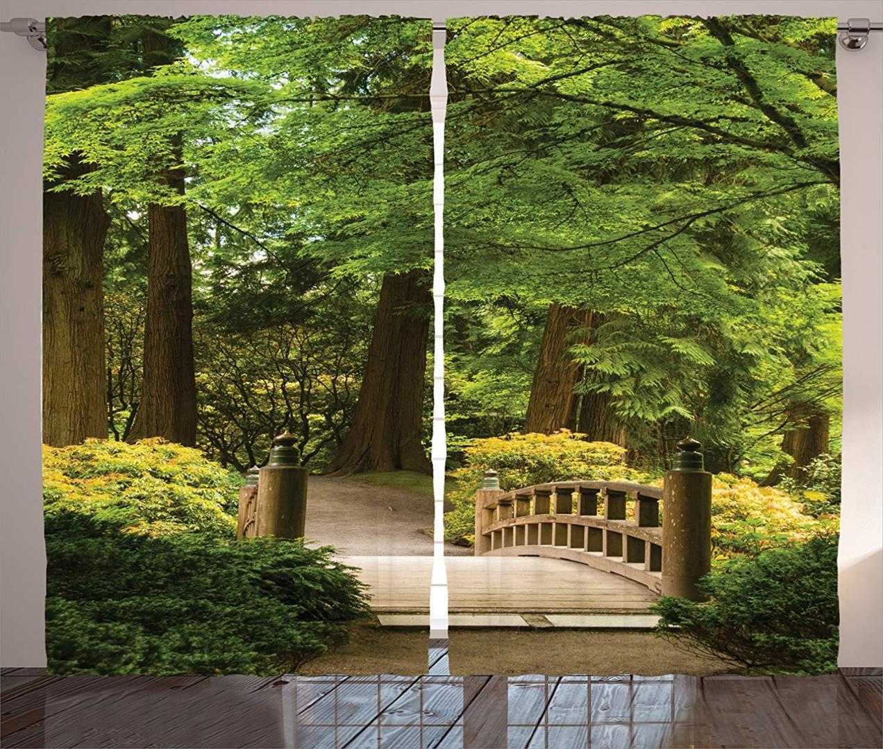 Alberi Nani Da Giardino tende giapponesi ponte di legno su uno stagno giardino calma ombra alberi  serenità natura soggiorno camera da letto set di 2 pannelli
