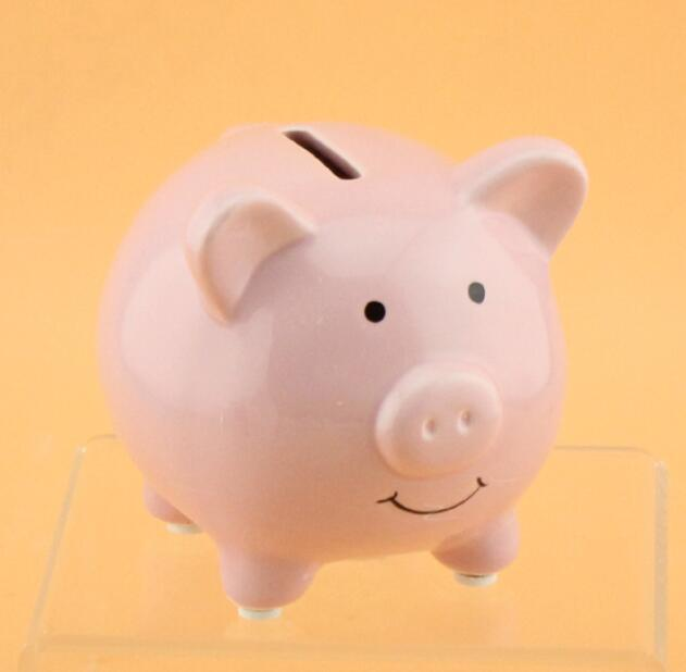 Vosarea Coin Bank,Adorable Pig Shaped Coin Bank Money Box Piggy Bank Saving Pot Birthday Gift Size L