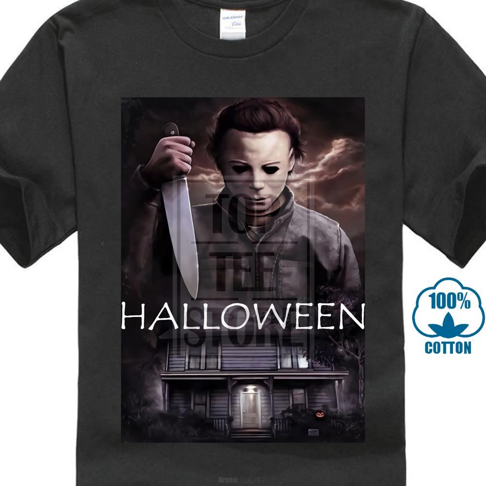 New Halloween Movie 2018 Horror Michael Myers Mask Slasher Black T Shirt S-2XL
