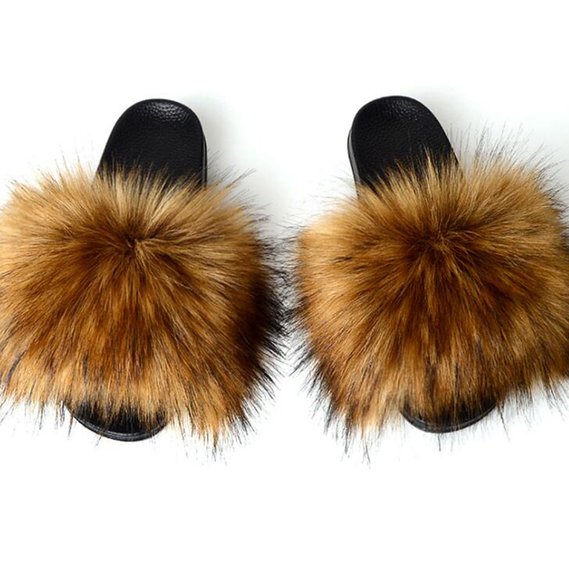 Womens Fur Slipper Real Raccoon Fur Fashion Style Furry Slides Soft Warm Big Fluffy Fur Shoes S6020E,Raccoon Green,40