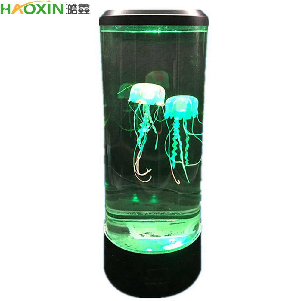 HaoXin 7 Color Changing LED Jellyfish Lamp Aquarium Bedside Night Light Decorative Romantic Atmosphere USB Charging Creative Gift