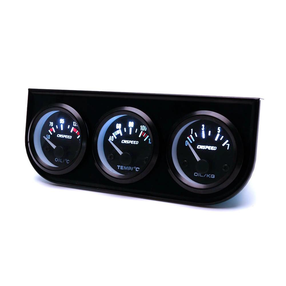 Compteur Automatique 52MM 3 en 1 Combinaison Voiture Compteur m/ètre Automatique jauge de temp/érature de leau capteur de Pression dhuile Triple kit pi/èces dauto