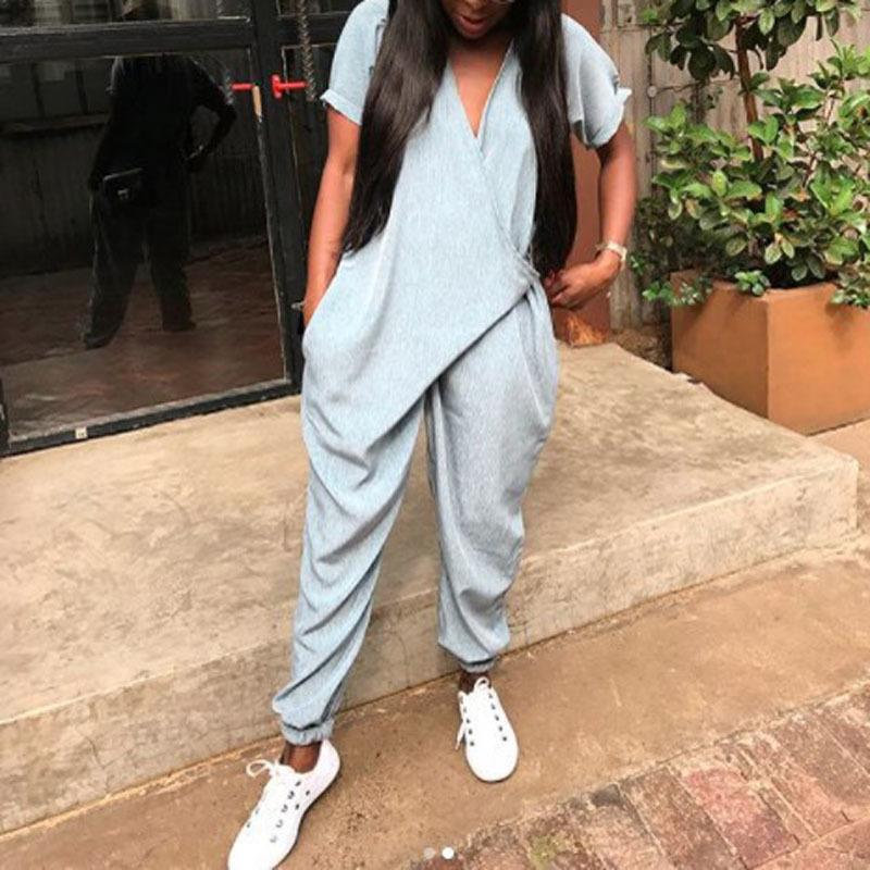 2019 Fashion Long Rompers Women Short Sleeve V Neck Jumpsuit Pockets Playsuit Overalls Casual Mono Bodysuit Streetwear Plus Size Y19060501