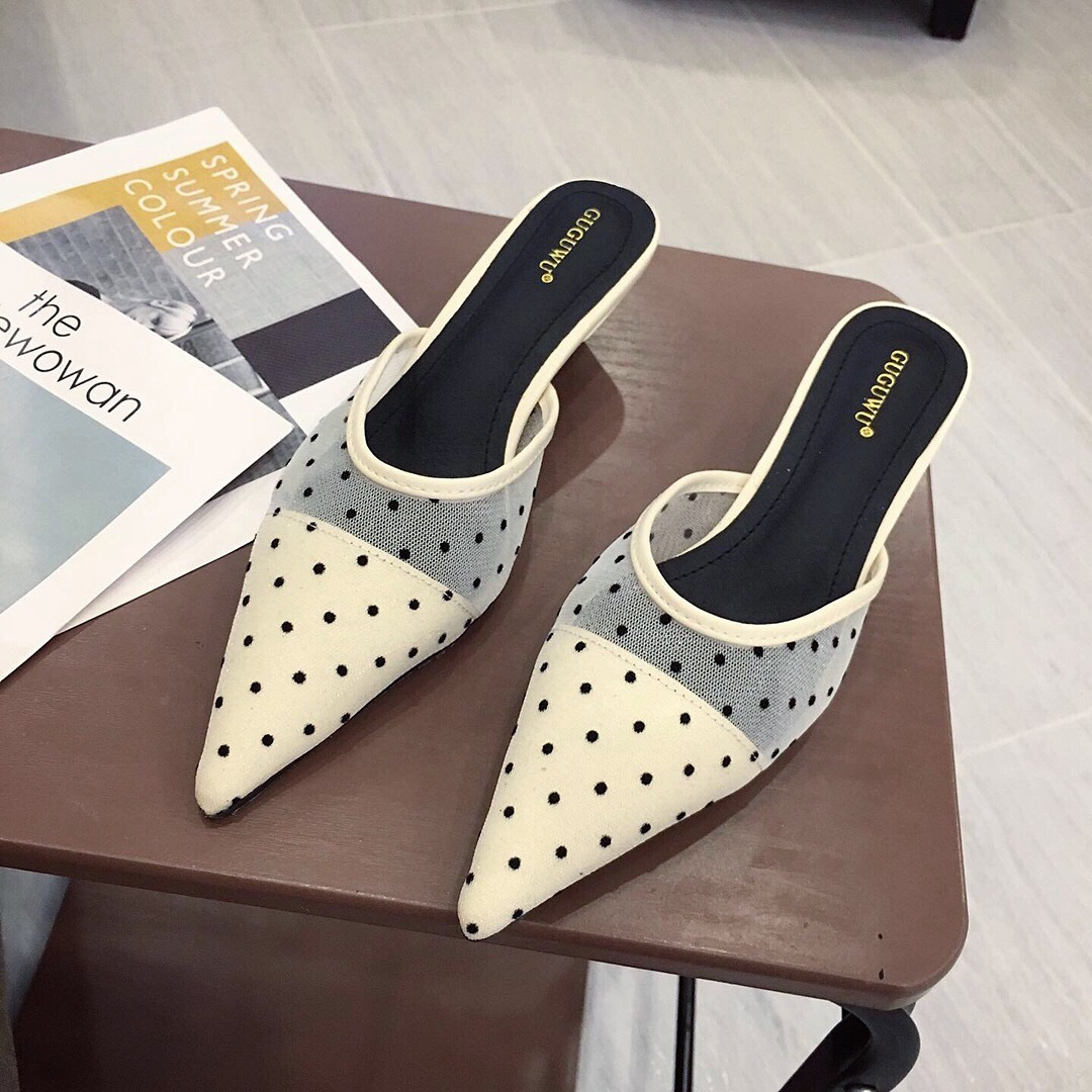 Mini2019 Baotou Sharp Fine Autres Vêtements Semi Remorqué Point De Vague Orthographe Couleur Bas Avec Femme Cool Slipper