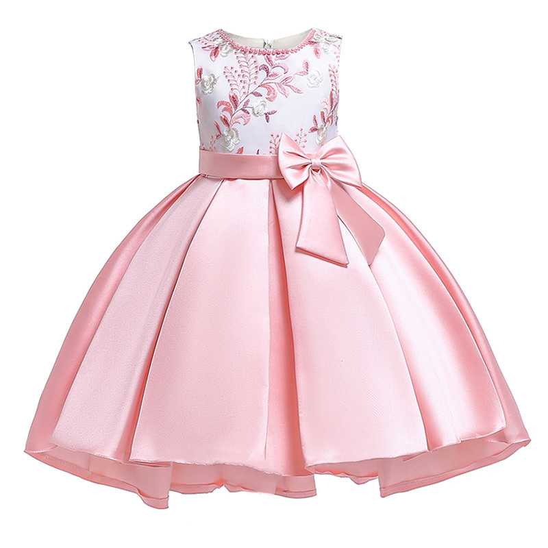 Retail New Design Girl Summer Dress With Bow Kids Girl Party Dress For Birthday Bridesmaid Embroidered Trailing Dress T5087 J190709