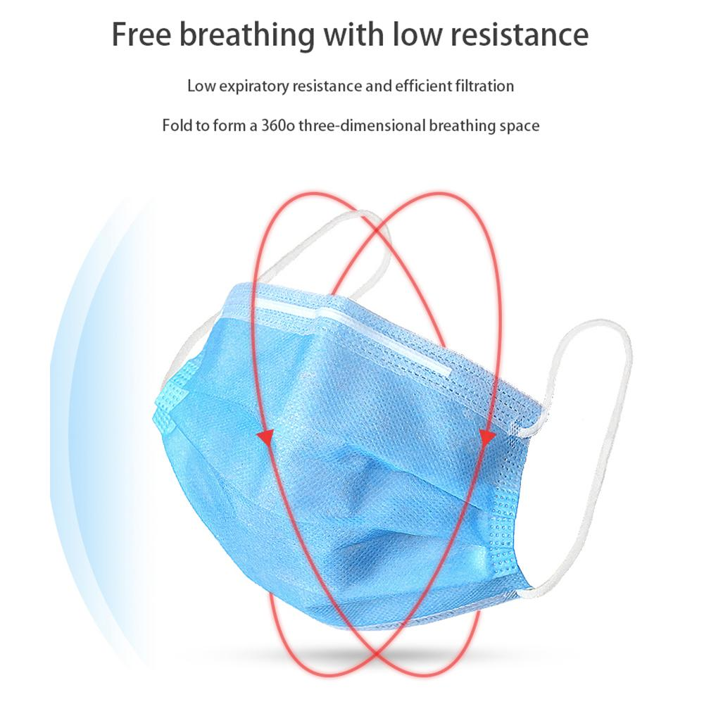 Disposable Face Masks 3 Layer Ear-loop Dust Mouth Masks Cover 3-Ply Non-woven Disposable Dust Mask Soft Breathable outdoor part fast delivr