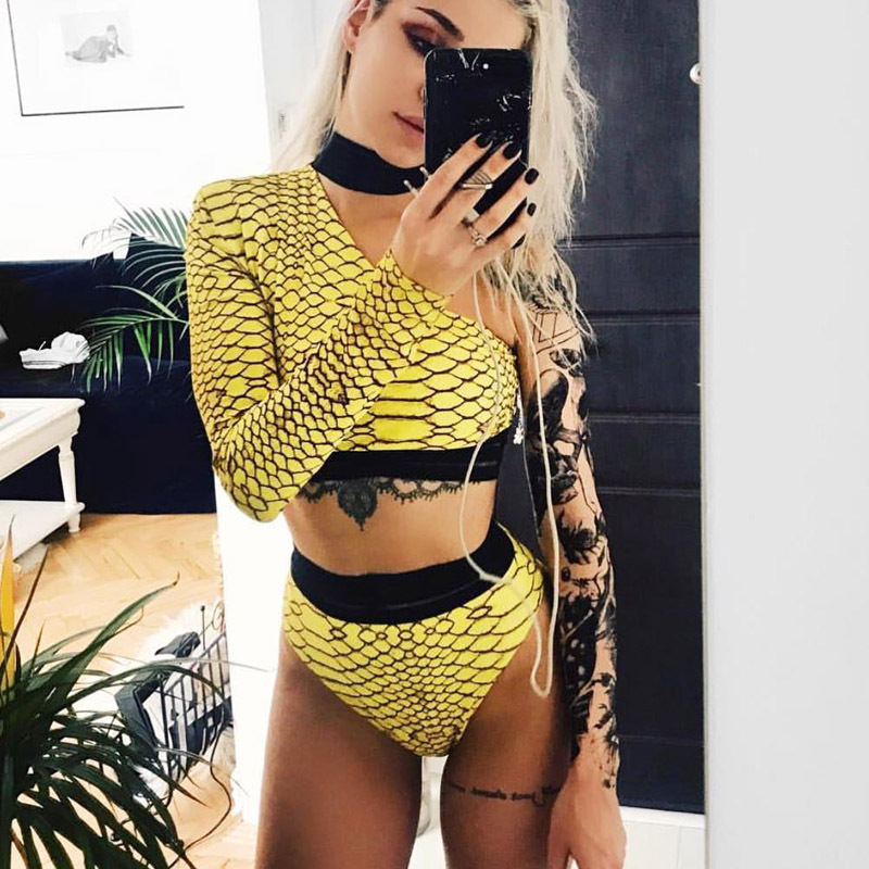 Tobinoone Womens Bodysuit Patchwork Yellow One Shoulder Checkerboard Femme Bodysuits Skinny Beachwear Plaid Fashion Body Suits Q190516