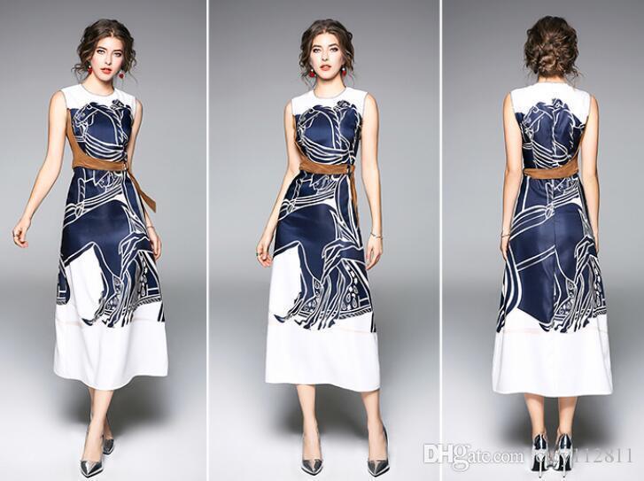 Pop2019 Printemps Et L'Europe Et Les Etats-Unis Dernière impression d'une robe sans manches Word Word