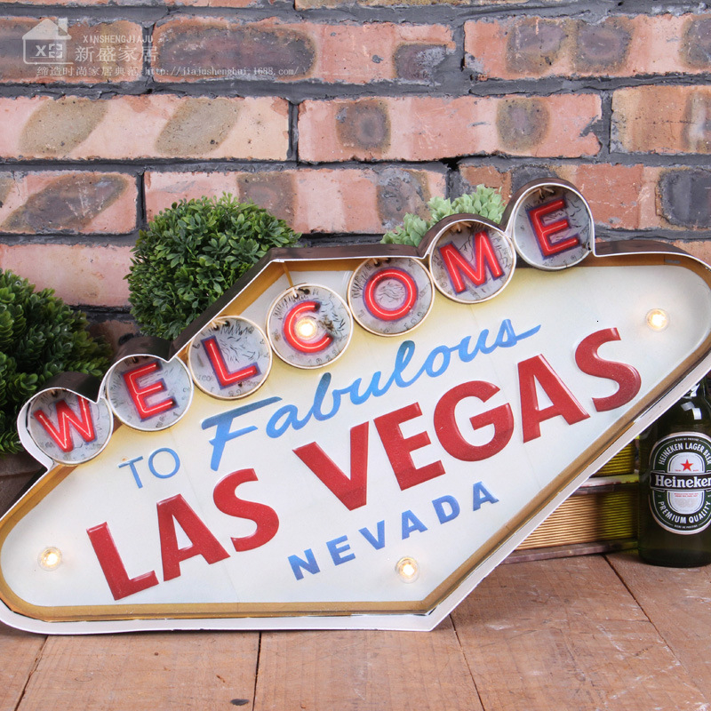Welcome to Fabulous Las Vegas M/étal Mur Affiche Vintage /Étain Mural Signe D/écorative R/étro Plaque pour M/étallique Panneau Bar Caf/és H/ôtel Jardin Parc