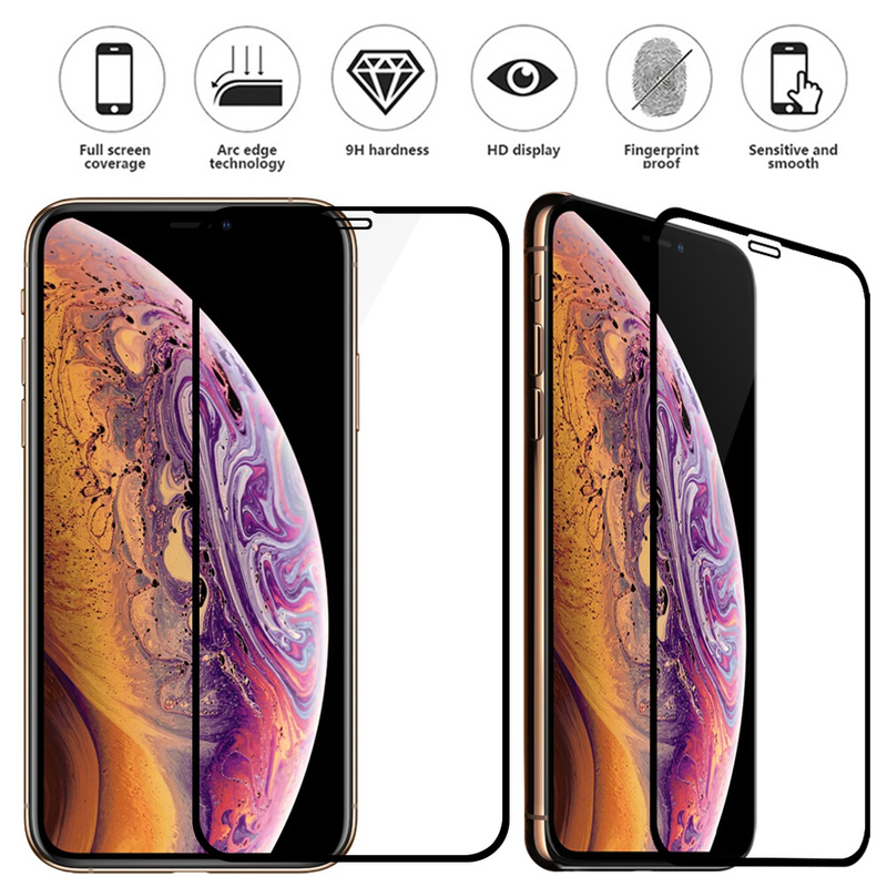 For iphone 11 pro max XS Max XR X 7/8 plus 10D Curved Full Cover Tempered Glass Screen Protector with package