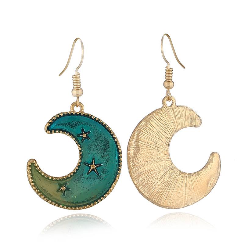 Japanese and Korean small refreshing oil-blue Moon Star Earrings symmetrical fashion girl's crescent-shaped ear hook ear nails