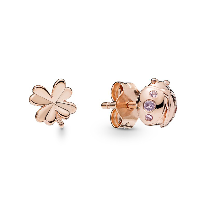 Wostu 925 Argent sterling Boucles d/'oreilles or rose Coeur Oreille Stud Femmes Bijoux Cadeaux