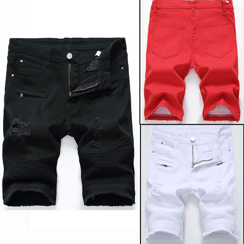 Fashion-Mens jeans Shorts Motorcycle biker jeans Rock Revival Short Pants Skinny Slim Ripped hole Men's Denim Shorts men Designer jeans
