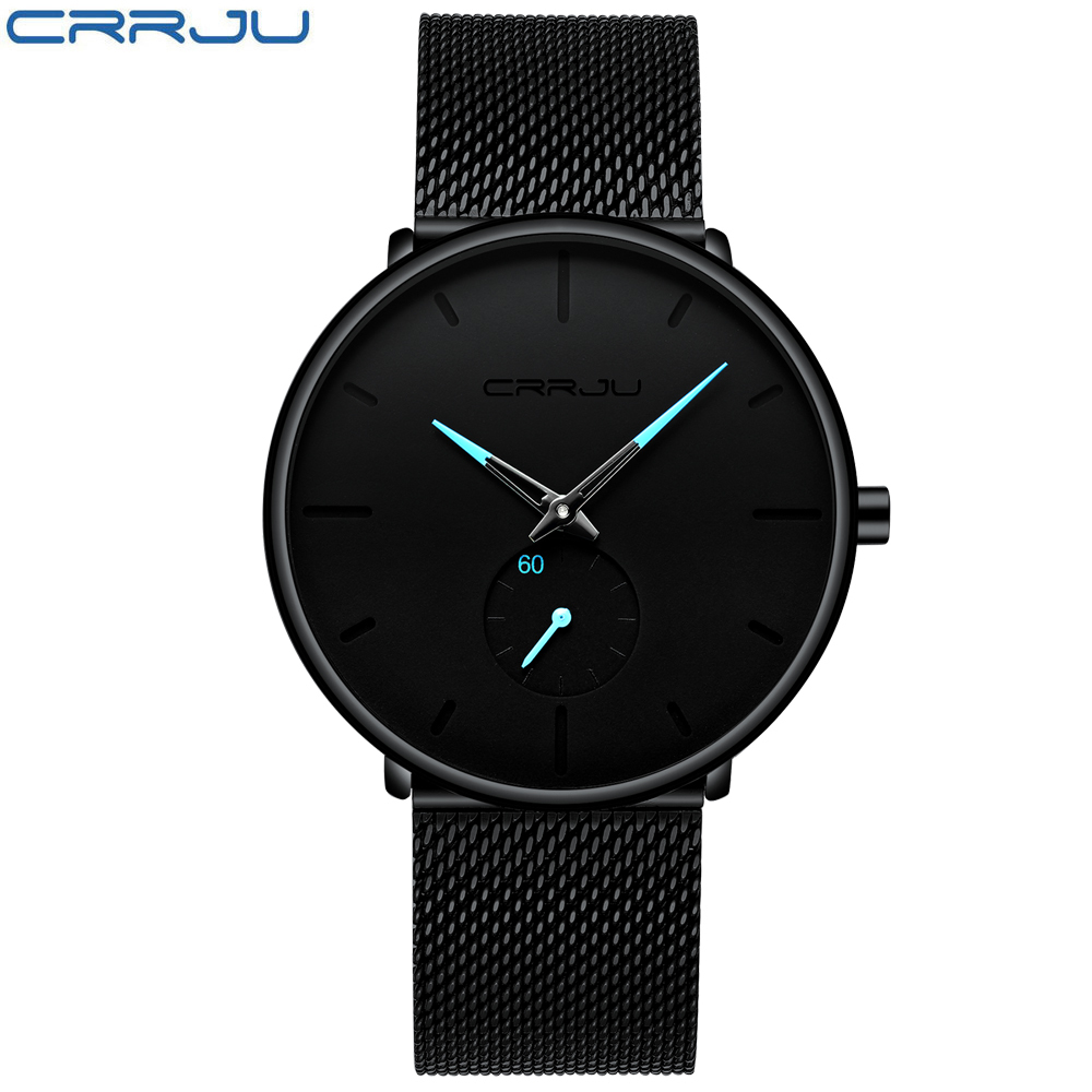 Casual Black Blue Mens Watch Pointer Japan Quartz-watch Top Brand Luxury Stainless Steel Face Ultra Thin Clock Male Relogio New Y19052103
