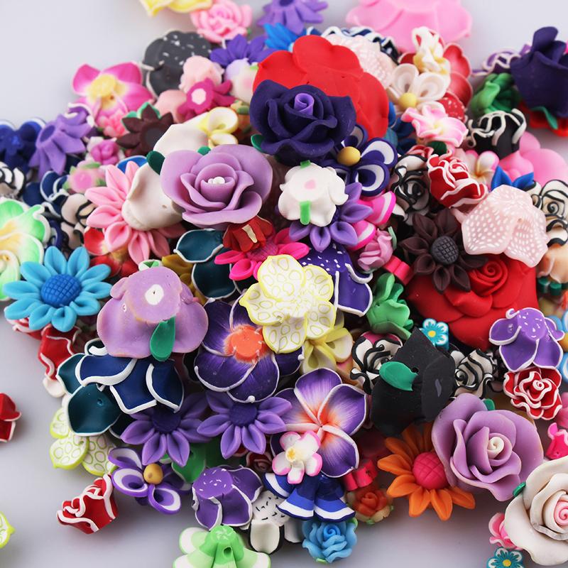 G9 10 handmade coloré argile polymère fleurs