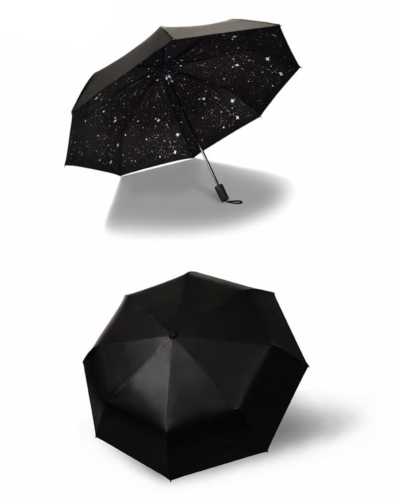 Fashion Black Stars Women Umbrella Three Fold Wind Resistant Anti UV Sun Umbrella Sunny And Rainy Dual-use Male Parasol13