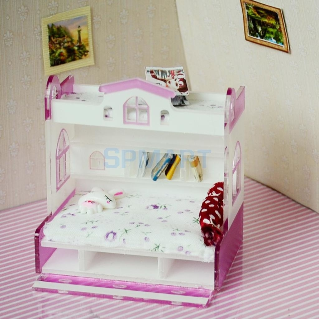 ABS Miniature Bunk Bed Model for 1/12 Dolls House Children Bedroom Furniture Life Scenes Decor Room Accessory #2