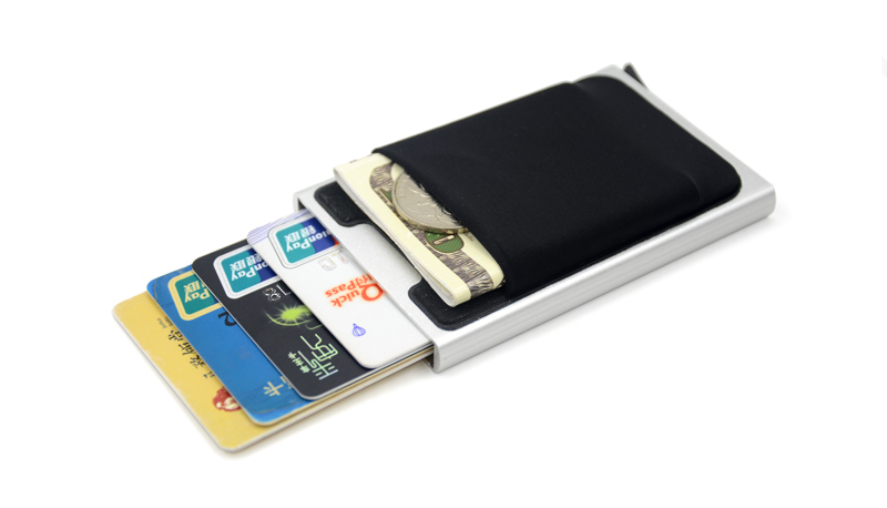 Hot Credit Card Holder Case Aluminum Wallet With Elasticity Back Pocket Rfid Thin Metal Wallet Business Id Card Holder