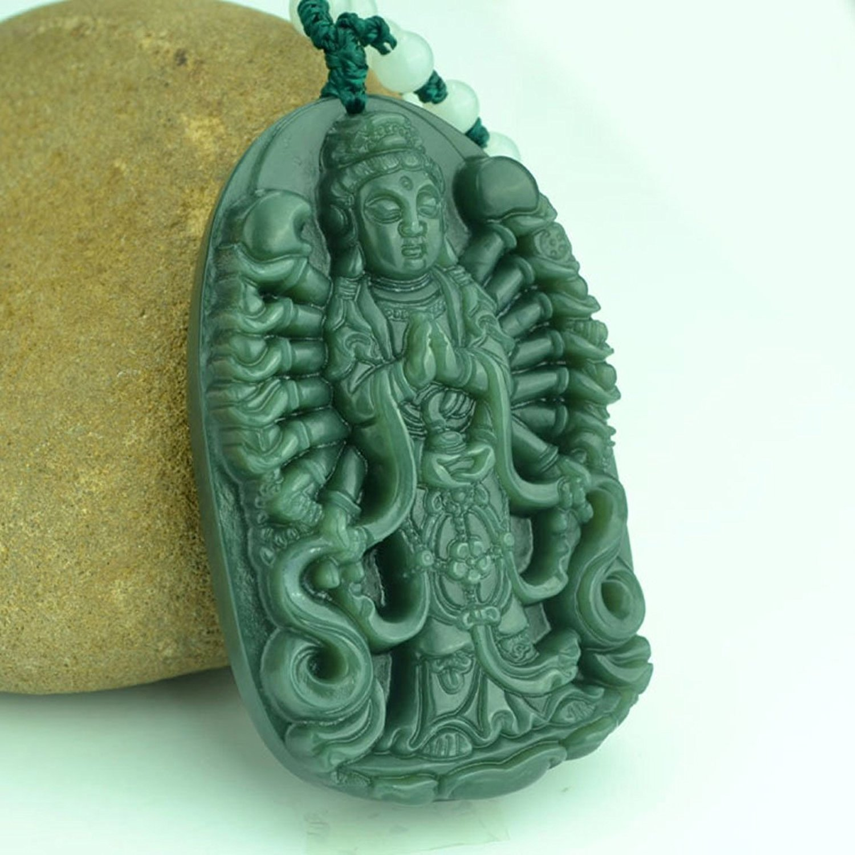Natural Green Jade Avalokitesvara Pendant Necklace Women Mens Gemstone Jewelry Gift Wholesale
