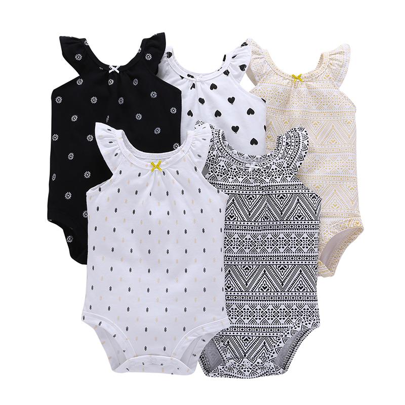 5PCS/LOT SUMMER INFANT BABY GIRL CLOTHES,o-neck sleeveless rompers cotton,unisex newborn set,Toddler boy set,6-24 month