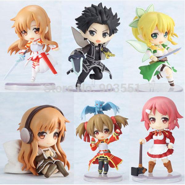 Anime Sword Art Online Toys Asuna SAO Kirito Sexy PVC Action Figures Dolls Children Toys In Box 6PCS/SET Free Shipping