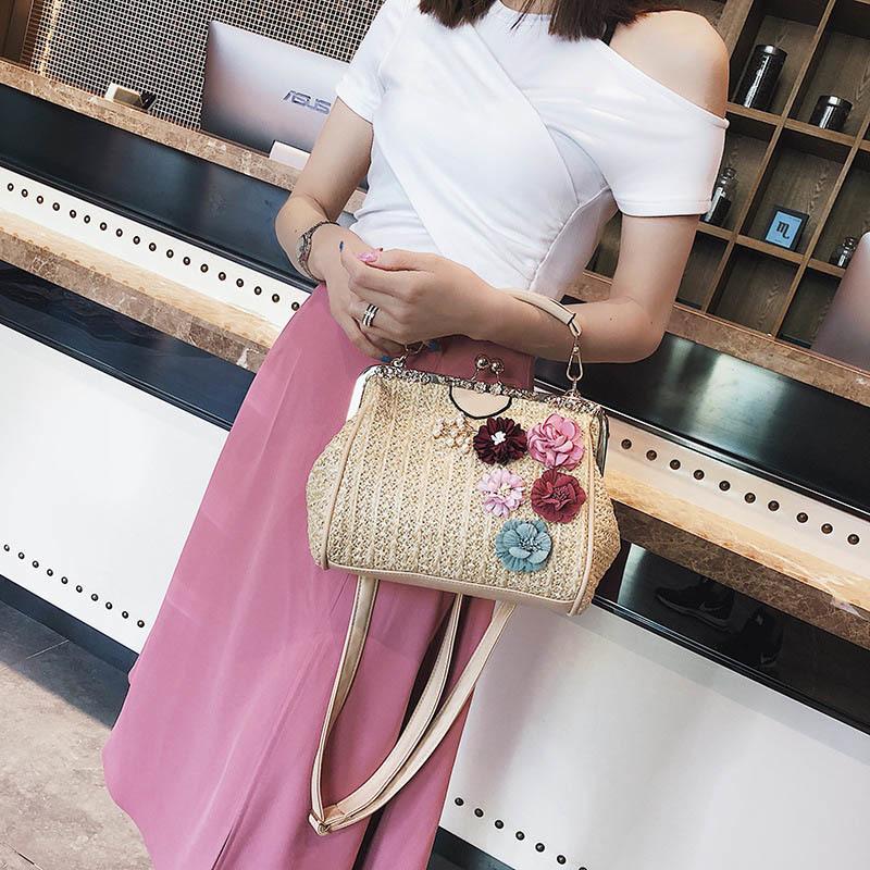 Women Pearl Handbag INS Popular Female Summer Flower Straw Bag Lady Fashion Shoulder Bag Travel Beach Woven Crossbody Bag SS7220 (8)