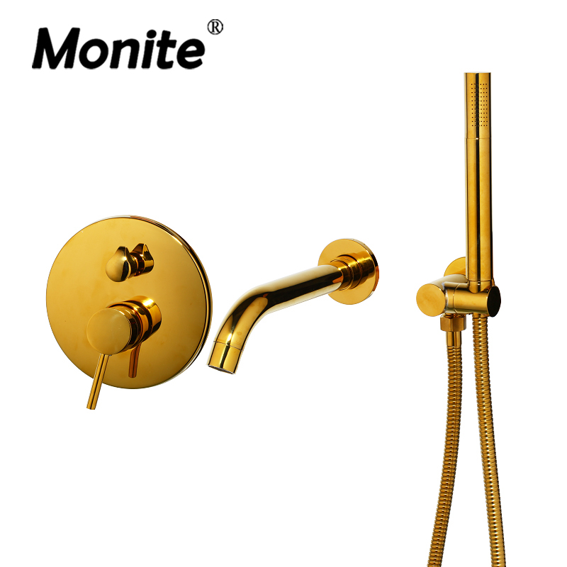 Luxury Golden Plated Wall Mounted Hand Shower Bathroom Bathtub Basin Sink Brass Faucet Mixer Taps Gold Shower Set