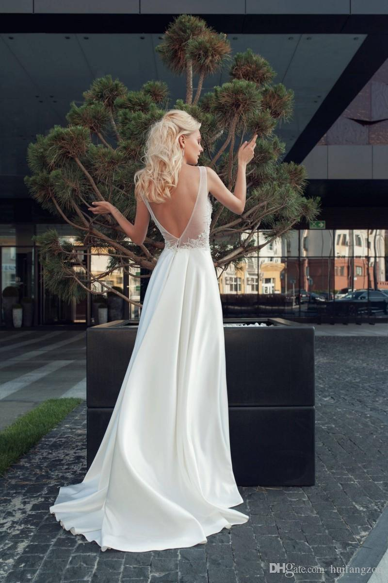 2018 Elegant Wedding Dresses Summer Sleeveless Lace Applique Beaded Satin Wedding Dress Floor Length Sexy Backless Bridal Gowns