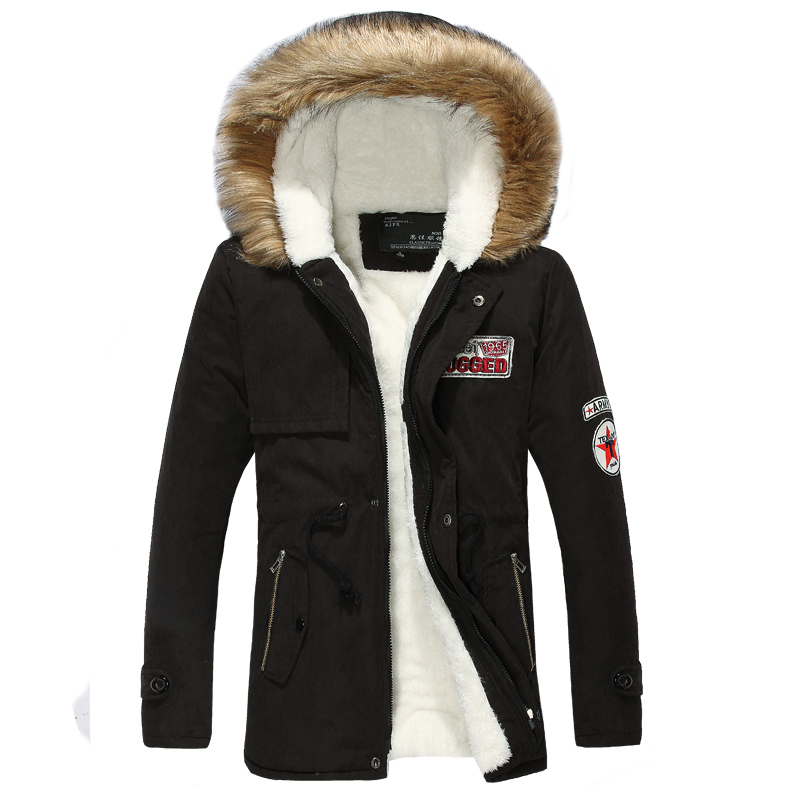 Wool Linner Men Winter Jacket Army Green 2019 Winter Mens Thick Warm Fur Collar Long Jackets Men Hooded Parka Men Coat