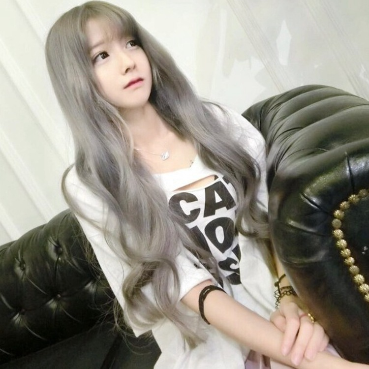 lady Wig Girl Curly Bangs Grey Wig Headset Lolita long wave wigs