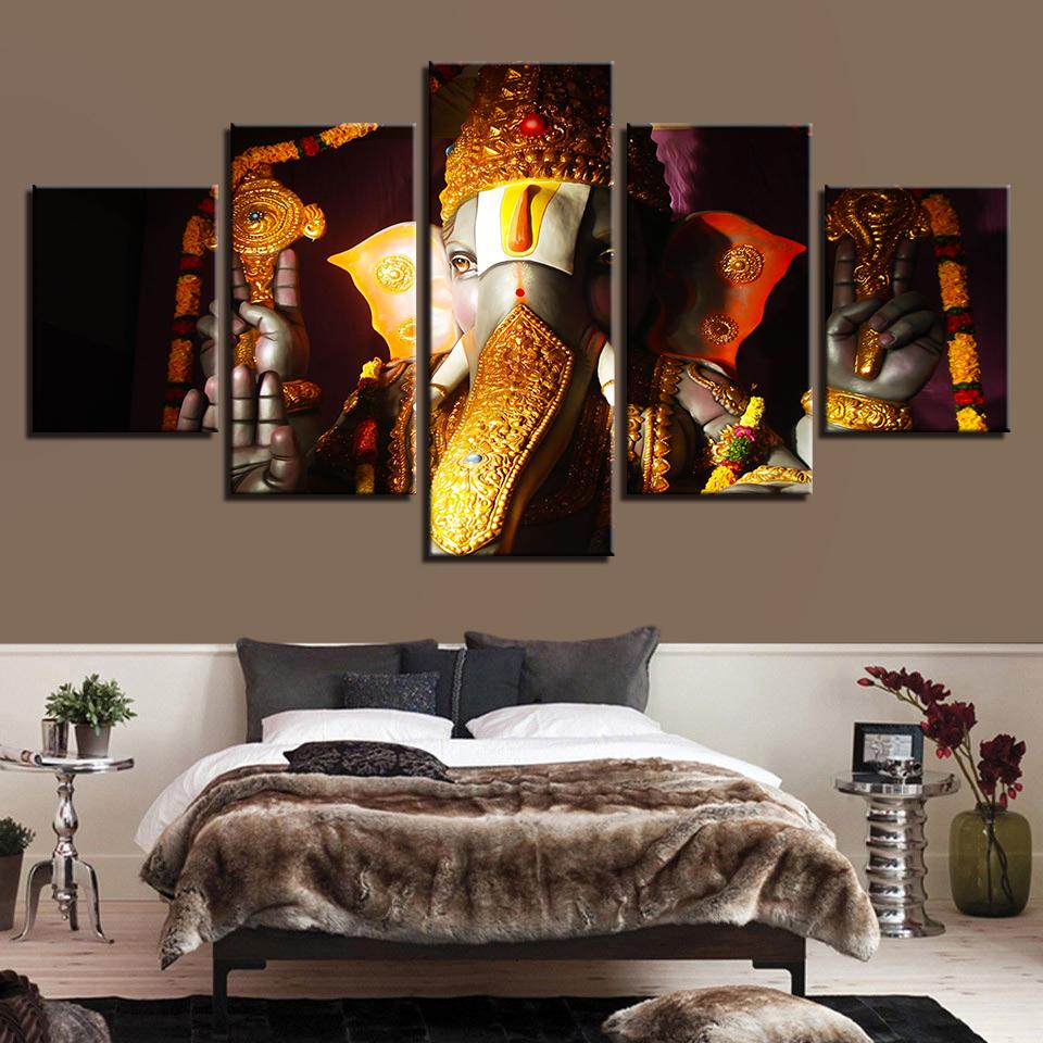 Modern HD Wall Art Prints Creative 5 Panel Elephant Ganesha Canvas Painting Corridor Home Decor Modular Pop Art Pictures Poster