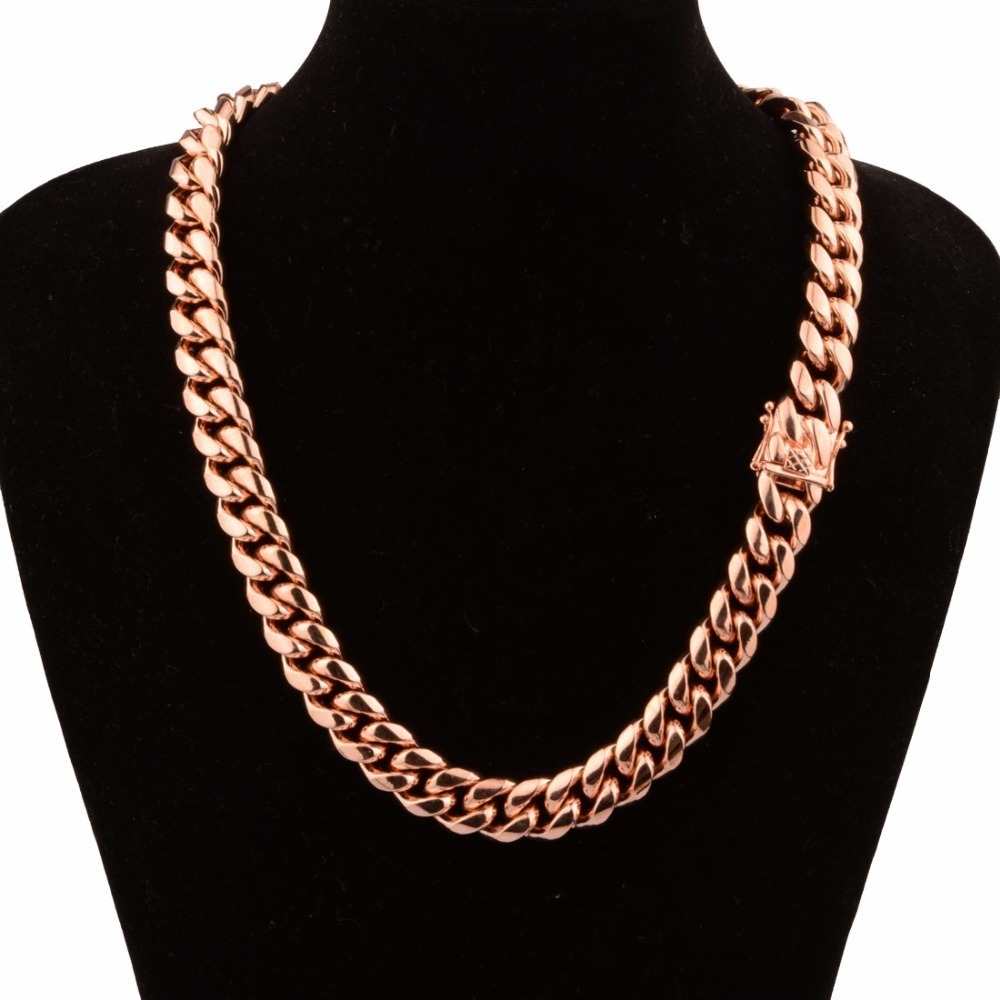 """Mens Hot Sell Rose Gold Stainless Steel Heavy Curb Cuban Necklace 7/""""-40/"""" 14//16mm"""