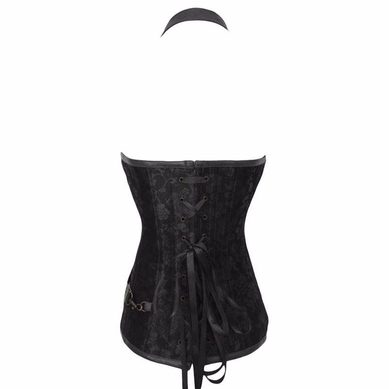 Black-Corset-With-Faux-Leather-Halterneck-W580908A-3