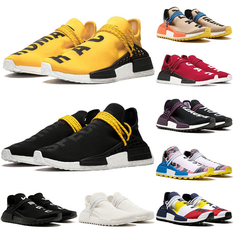 2019 adidas pharrell williams nmd human race courses tennis hommes chaussures de course femme échantillon jaune Core Black Nerd Black designer baskets