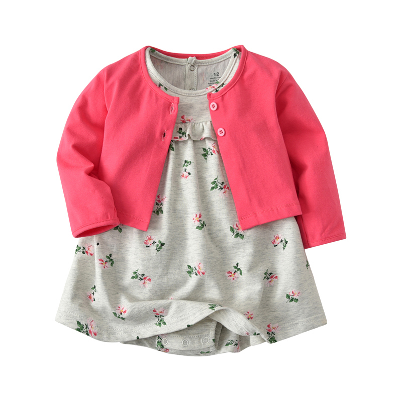 2PCS spring autumn new born BABY GIRL CLOTHES Cardigan coat+floral romper dress clothing set for 6-24m baby girl casual outfits