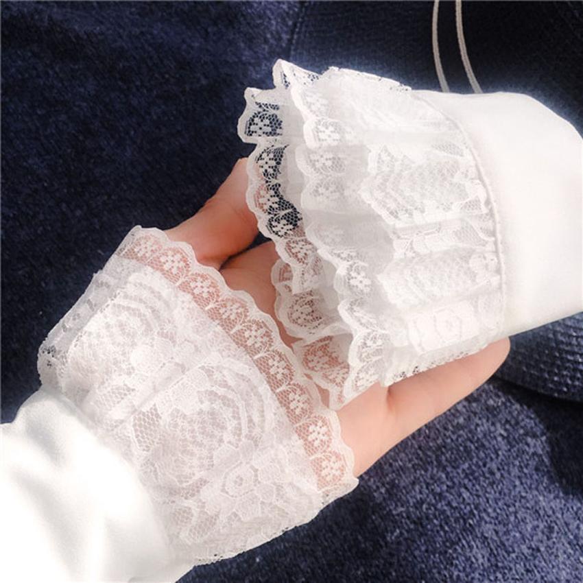 2Pcs Frauen Chiffon falsche Manschette gefälschte Ärmel dekorative Volant