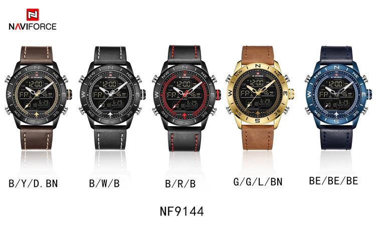 9144 Genuine Leather Fashion Gold Men Sport Watches Mens Analog Digital Watch Army Military Leather Quartz Watch Naviforce