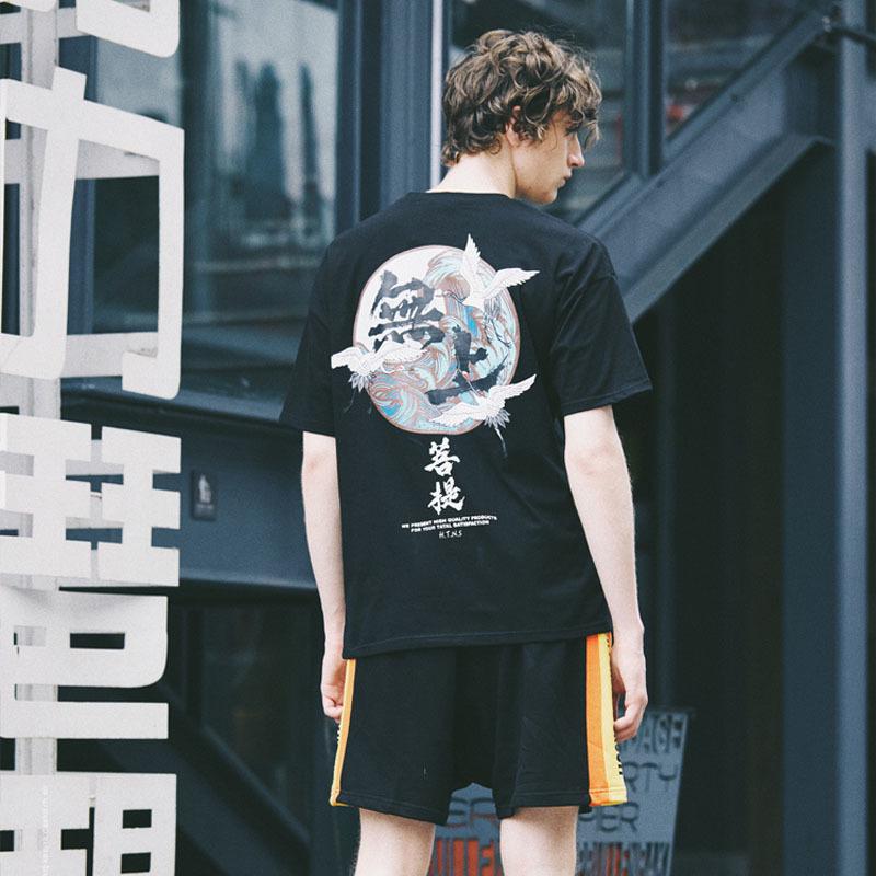 Grúa de buda camisas de impresión para hombre Hip Hop camiseta carácter chino Casual Tops camisetas verano Harajuku Streetwear camiseta negro C19041601