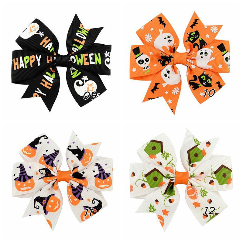 12 Style Baby Girls Halloween Grosgrain Bows Barrettes hairpin Ribbon Kids Ghost Pumpkin Hair Clips Hallowmas DIY Decor Accessories gifts