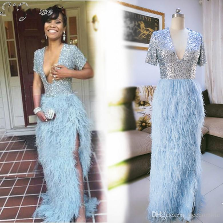 Sexy Deep V Neck Sky Blue Ostric Feather Prom Dresses Sequin Bodice High Slit Luxury Evening Gowns Vestido De Festa Longo