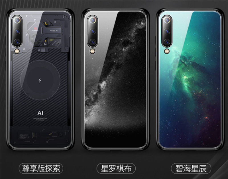 Aixuan Glass Case For Xiaomi mi 9 Mi9 Explorer Xiaomi mi 9 SE Case painted Tempered Glass Silicon Protective full Cover Cases (6)