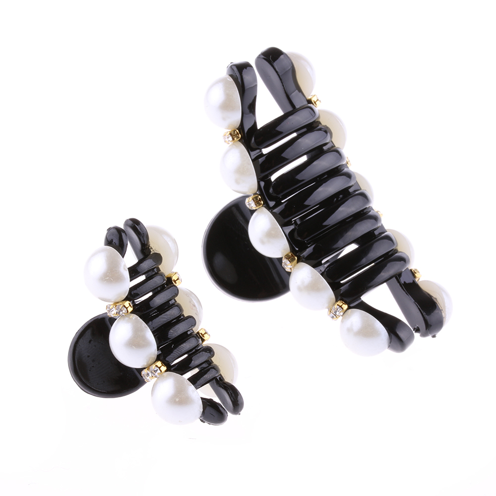 Black Claw Hair Clip Crystal Pearl Plastics For Women/baby Party Festival Rhinestone Hairpin 2 Sizes Hair Band Accessories