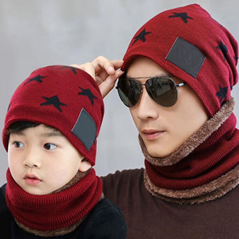 UK/_ EG/_ Infant Boy Girl Pentagram Neckerchief Scarves Winter Neck Warm Hat Set