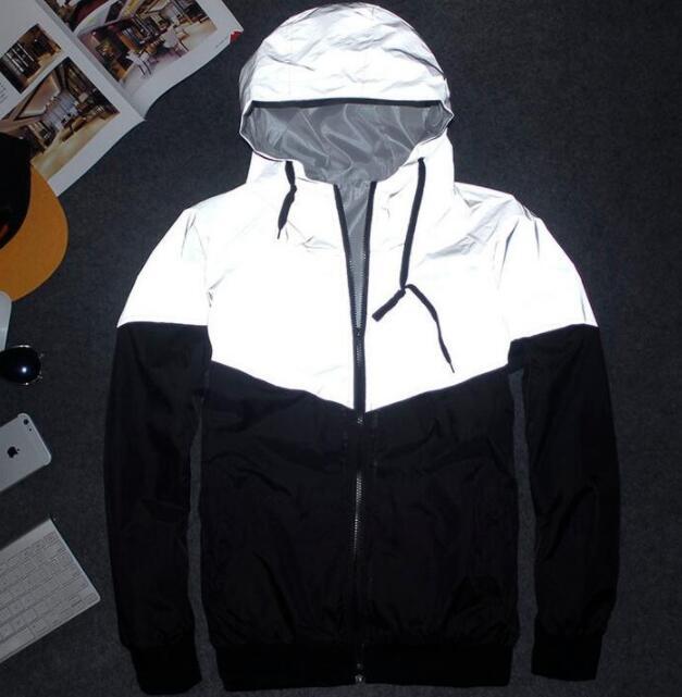 NEW fashion Hip Hop Men women Jacket Autumn Patchwork Reflective 3m Jacket Windbreaker Men Coat Trend Brand