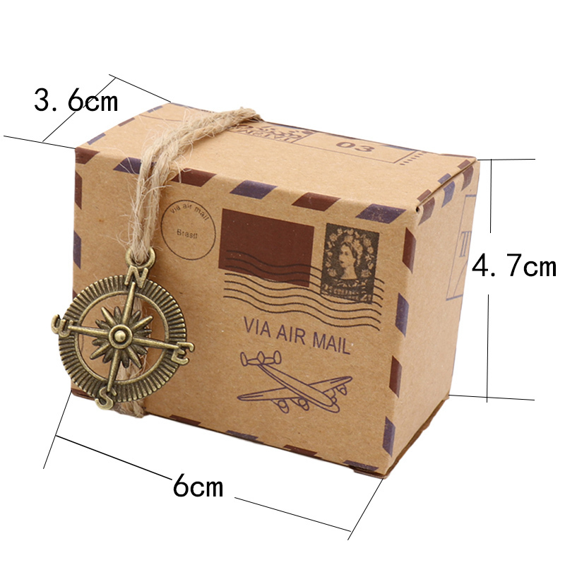 New Stamp Design Vintage Candy Chocolate Packaging Kraft Gift Box Wedding Favors And Gifts Bag Party Supplies Q190603