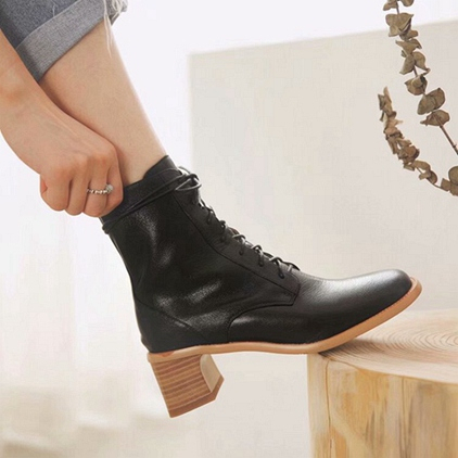 Ladies Short Boots 2019 Designer S Women S Shoes High-heeled Women S Boots With Lace Up Leather Fashion Boots