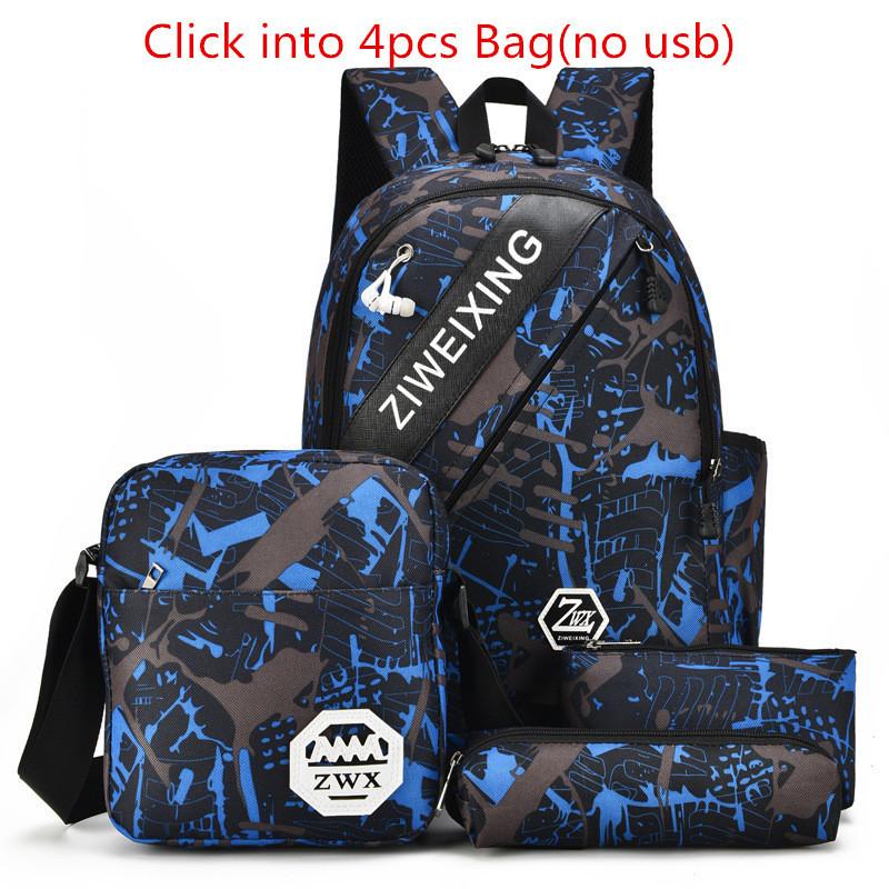 4pcs-Waterproof-Camouflage-Boys-School-Bags-Capacity-Backpack-For-Teenagers-Student-Blue-Book-Bag-Men-School