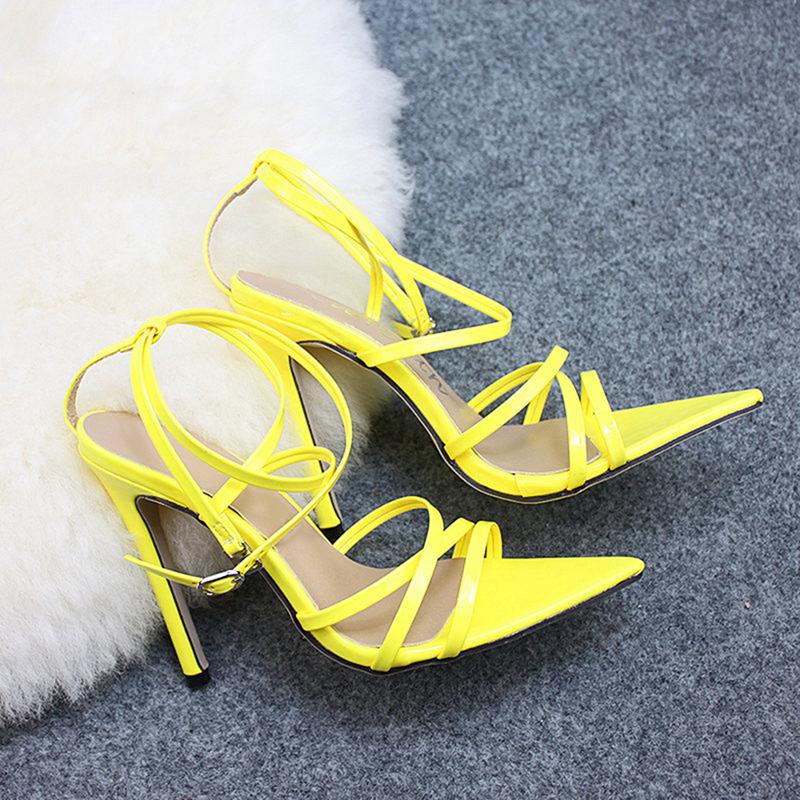 Super Haute 11.5 cm Talons Minces Femmes Pompes Cheville Cross Strap Sandales Chaussures Femme Dames Pointu Toe Talons Hauts Robe De Soirée Chaussures
