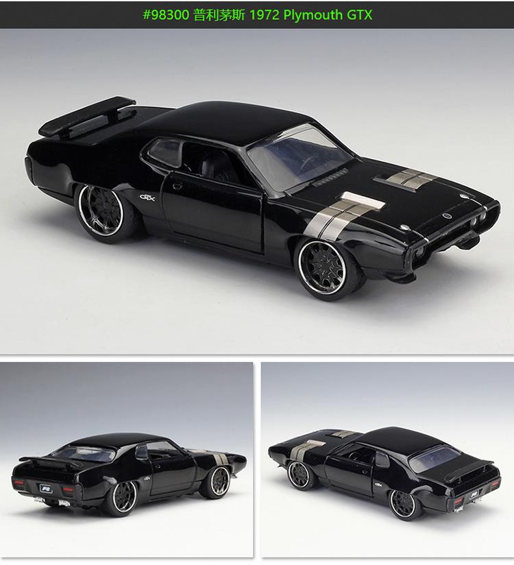 Jada1: 32 Fast Furious Alloy Car 1972 Plymouth Gtx Metal Die Cast Classic Street Race Modelo de colección de juguetes para niños regalos J190525